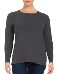 Lord And Taylor Plus Knit Crewneck Shirt Graphite Heather