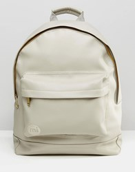 Mi Pac Tumbled Backpack In Faux Leather Light Grey