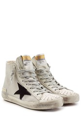Golden Goose Francy Mesh And Leather High Top Sneakers White