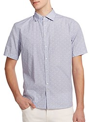 J. Lindeberg Printed Cotton Button Front Shirt White