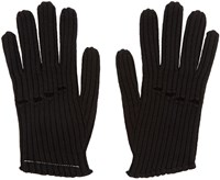 Maison Martin Margiela Black Wool Rib Knit Gloves