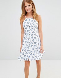 Millie Mackintosh Button Up Mini Dress In Ditsy Floral Print Blue