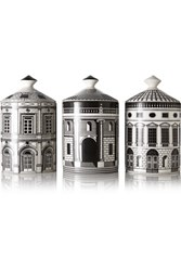 Fornasetti Ordine Architettonico Set Of Three Candles Colorless