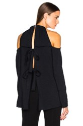 Proenza Schouler Open Shoulder Crepe Top In Black