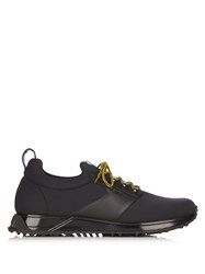 Fendi Low Top Neoprene And Leather Trainers Black Multi