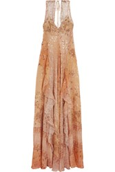 Etro Printed Silk Chiffon Gown Pink