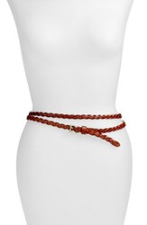 Women's Elise M. 'Florence' Calfskin Leather Double Wrap Belt Cognac