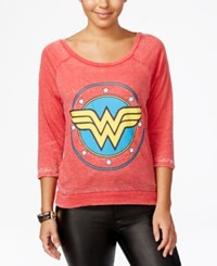 Bioworld Warner Bros Juniors' Wonder Woman Vintage Graphic T Shirt Red