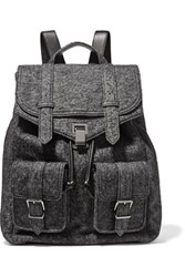 Proenza Schouler Leather And Melange Wool Blend Backpack Anthracite