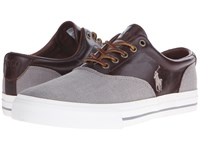Polo Ralph Lauren Vaughn Saddle Grey Tan Flax Linen Smooth Oil Leather Men's Lace Up Casual Shoes Gray
