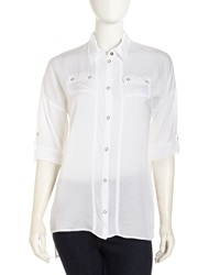 Xcvi High Low Crepe Blouse White