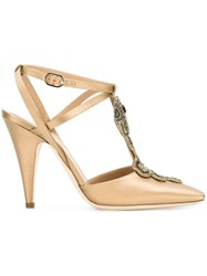 Alberta Ferretti Embellished Snake Pumps Nude And Neutrals