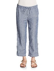 Saks Fifth Avenue Linen Chambray Cropped Pants Blue