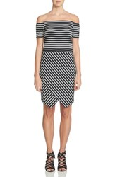 1.State Women's Stripe Off The Shoulder Body Con Dress