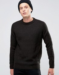 D Struct Chunky Ribbed Crew Neck Jumper Black