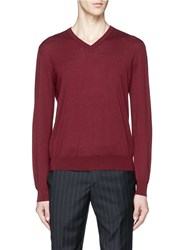 Canali Cashmere V Neck Sweater Red