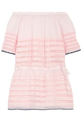 Lemlem Nadia Off The Shoulder Striped Cotton Blend Gauze Mini Dress Peach