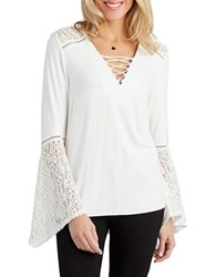 Democracy Bell Sleeve Lace Up Top Natural