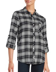 Honey Punch Plaid Button Down Tab Roll Sleeved Flannel Shirt Black White