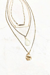 Urban Outfitters Jessa Crystal Layering Necklace Set Gold
