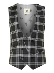 Topman Noose And Monkey Black And White Check Suit Waistcoat