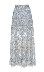 Katie Ermilio A Line Embroidered Lace Midi Skirt Blue
