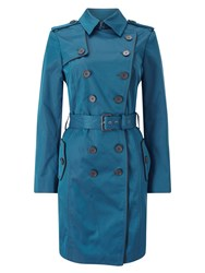 Jacques Vert Contrast Trim Trench Green