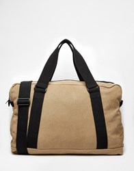 Asos Holdall In Stone Canvas