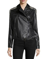 Haute Hippie Emb Leather Moto Jkt W Zips Black
