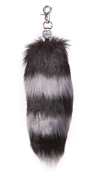 Charlotte Simone Goody Gumdrops Faux Fur Bag Charm Black Charcoal Grey