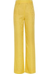 Oscar De La Renta Silk Jacquard Wide Leg Pants Yellow