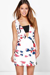 Boohoo Kate Floral Crepe Low V Neck Dress Ivory