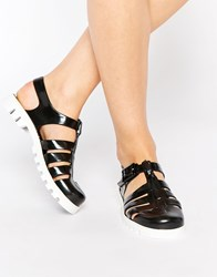 Juju Maxi Jelly Flat Sandals Black White
