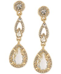 Carolee Gold Tone Pave Framed Crystal Double Drop Earrings