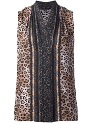 Kobi Halperin Printed Silk Tank Brown