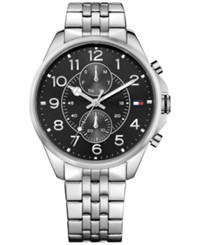 Tommy Hilfiger Men's Chronograph Casual Sport Stainless Bracelet Watch 46Mm 1791276 Silver