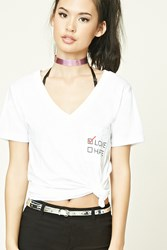 Forever 21 Love Hate Graphic Tee White Black