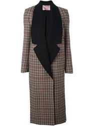Lanvin Houndstooth Check Long Coat Multicolour