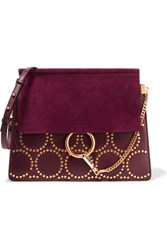 Chloe Faye Medium Studded Leather And Suede Shoulder Bag Grape