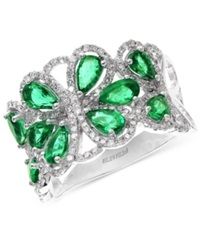 Effy Collection Brasilica By Effy Emerald 2 1 5 Ct. T.W. And Diamond 1 2 Ct. T.W. Flower Ring In 14K White Gold