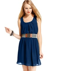 Amy Byer Bcx Juniors Dress Sleeveless Belted Navy
