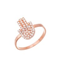 Lord And Taylor Cubic Zirconia 18K Rose Gold Hamsa Hand Ring