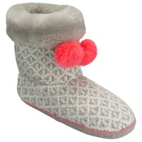 John Lewis Fair Isle Pom Boot Slippers Multi