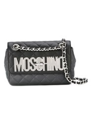Moschino Quilted Logo Crossbody Bag Grey