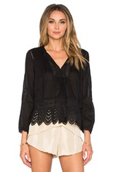 Rebecca Taylor Long Sleeve Voile Lace Top Black