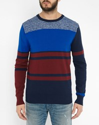 Diesel Blue And Red Acies Striped Fine Knit Round Neck Sweater
