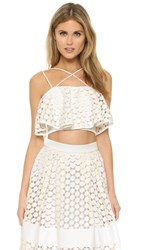 Nicholas Geo Lace Crop Top White
