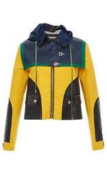Versace Color Block Cropped Hooded Jacket Yellow Blue Black