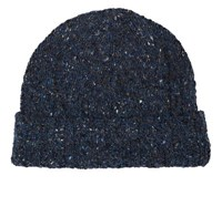 Inis Meain Men's Donegal Effect Merino Wool Cashmere Beanie Blue