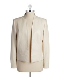 Tahari By Arthur S. Levine Faux Leather Flyaway Jacket Cream